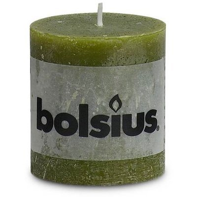 Bolsius Rustic pillar solid candle unscented 80/68 mm - Olive green