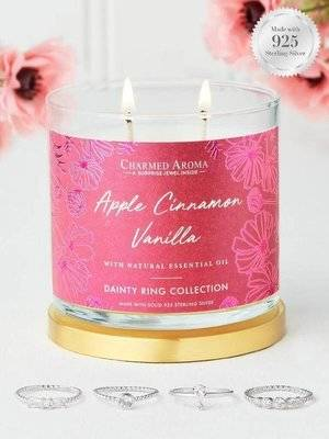 Charmed Aroma jewel soy scented candle essential oils Silver Ring 12 oz 340 g - Apple Cinnamon Vanilla