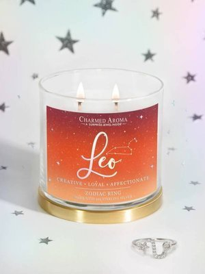 Charmed Aroma jewel soy scented candle with Silver Ring 12 oz 340 g - Leo Zodiac Sign