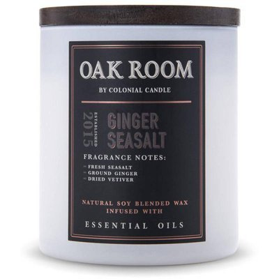 Colonial Candle Oak Room wooden wick soy scented candle 15 oz 425 g - Ginger Sea Salt