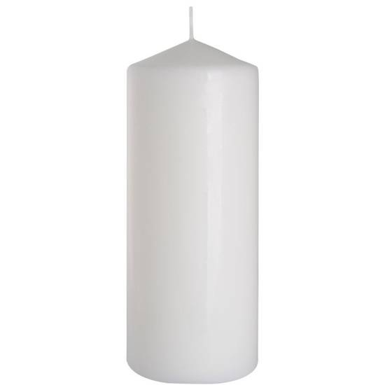 Bispol pillar unscented solid candle 200/78 mm - White