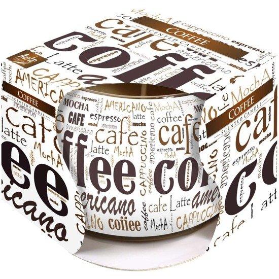 Bispol świeca zapachowa w szkle z ozdobną folią ~ 20 h - Coffee