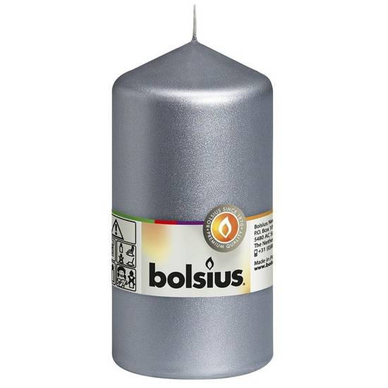 Bolsius unscented solid pillar candle 13 cm 130/68 mm - Silver