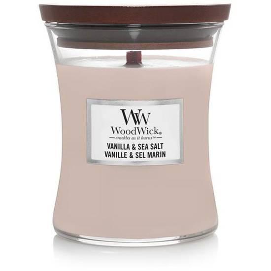 WoodWick Core Medium świeca zapachowa z drewnianym knotem w szkle ~ 100 h - Vanilla & Sea Salt