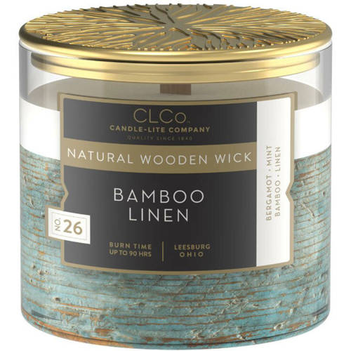 Candle-lite CLCo Luxury Scented Candle Wooden Wick 14 oz 396 g - No. 26 Bamboo Linen
